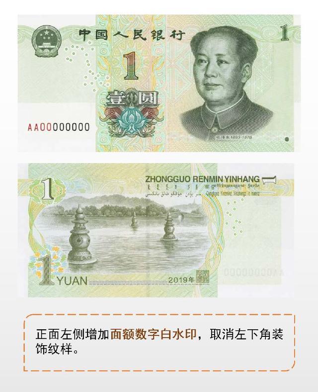 新版第五套人民币公布 2019年8月30日起发行
