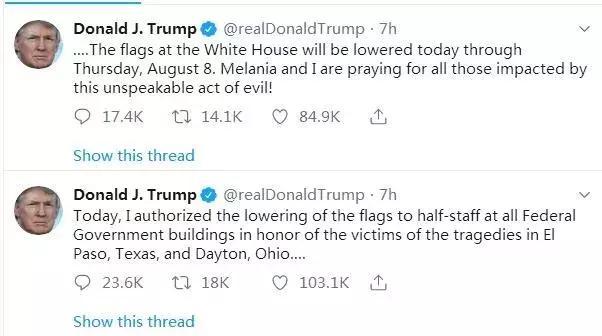 特朗普下令降半旗 同时谴责枪手可恨又懦弱的行为