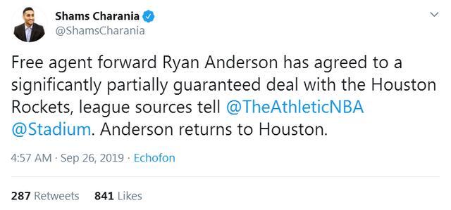 安德森回归火箭 昔日8000万先生回来了