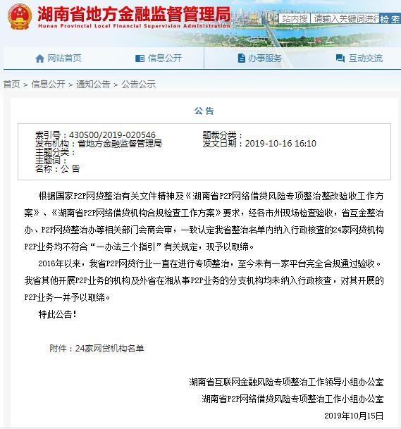 """湖南取缔网贷机构 对P2P网贷""""关上大门"""""""